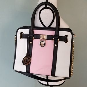 Dasein Pink, White and Black Color Block Satchel